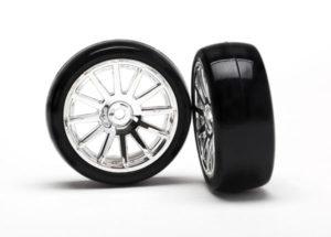 LaTrax 12-Sp Chrm Wheels, Slick Tires