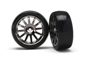 LaTrax 12-Sp Blk Wheels, Slick Tires