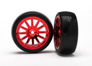 LaTrax 12-Sp Red Wheels, Slick Tires