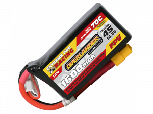 1600mAh 4S 14.8v 70C FPV Lipo Battery with XT60 Connector (Deep Shape) - High Discharge