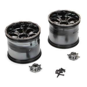 Losi LST XXL-2 420S Black Chrome Force Wheel with Cap (2) - LOS44000
