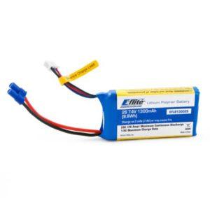 E-Flite 1300mAh 2S 7.4volt20C LiPo 13 AWG EC2