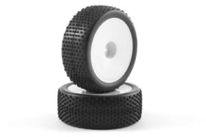 Fastrax 'Block' 1/10th Buggy Front Tyres Pre-Mounted on Dish Whe