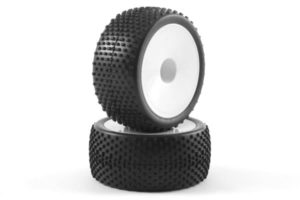 Fastrax 'Block' 1/10th Buggy Rear Tyres Pre-Mounted on Dish Whee