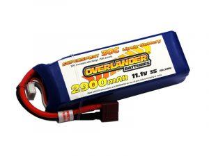 Overlander 2900mAh 3S 11.1v 35C LiPo Battery - Deans