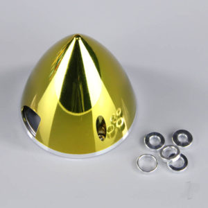 70mm Chrome Yellow Spinner (with Aluminium Back Plate)