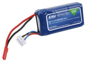 E-Flite 450mAh 3S 11.1volt 30C LiPo 18ga with JST Connector