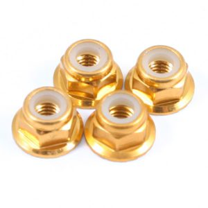 FASTRAX M4 GOLD FLANGED LOCKNUTS 4PCS