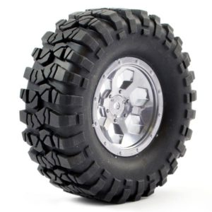 FTX OUTBACK PRE-MOUNTED 6HEX/TYRE (2) - CHROME