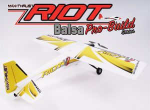 MAX THRUST PRO-BUILT BALSA RIOT KIT YELLOW - IC OR ELECTRIC