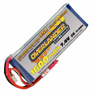 Overlander Supersport 1600 2S 7.4v 35C LiPo Battery