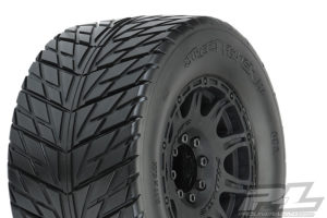 """PROLINE STREET FIGHTER 3.8"""" BELTED TIRES MOUNTED ON RAID BLACK WHEELS 8X32 HEX 17MM"""