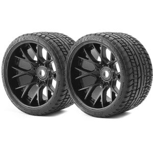 """SWEEP ROAD CRUSHER BELTED TYRE BLACK 17MM WHEELS 1/2"""" OFFSET"""